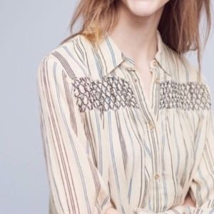 Anthropology Forward Oversized Button-down Blouse
